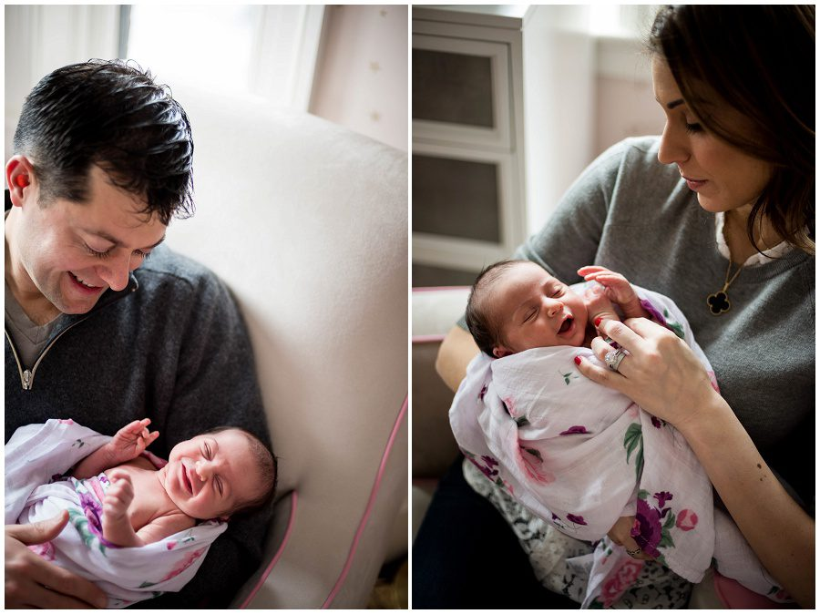 Father looks at his smiling newborn daughter. Newborn smiles at her mother in right image.