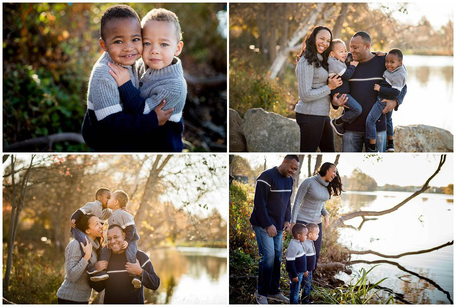 Boston family outdoors in the fall with sweaters