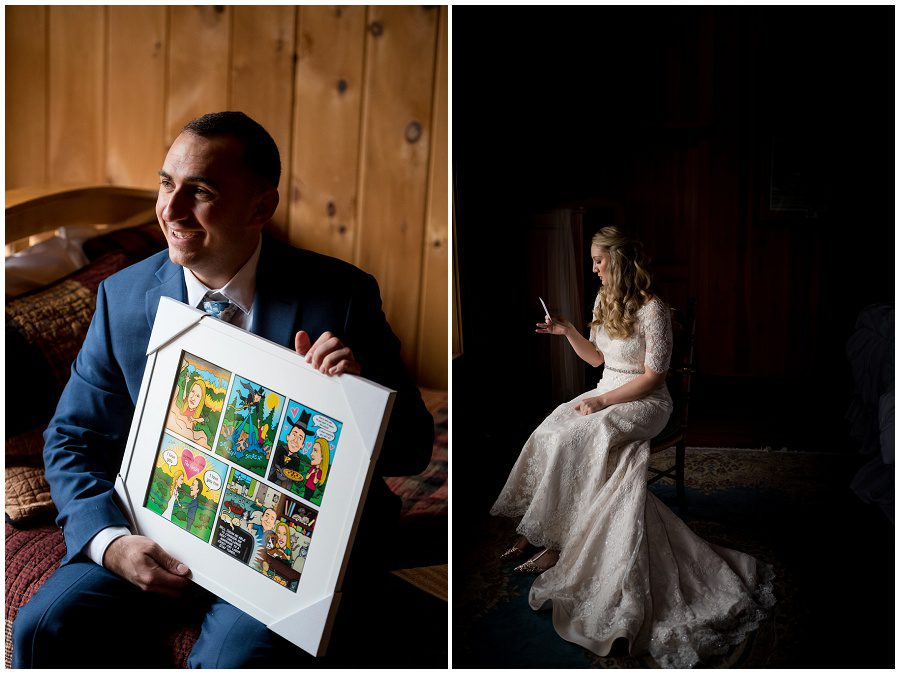 exchanging gifts with the groom and bride at granite ridge estate in norway maine