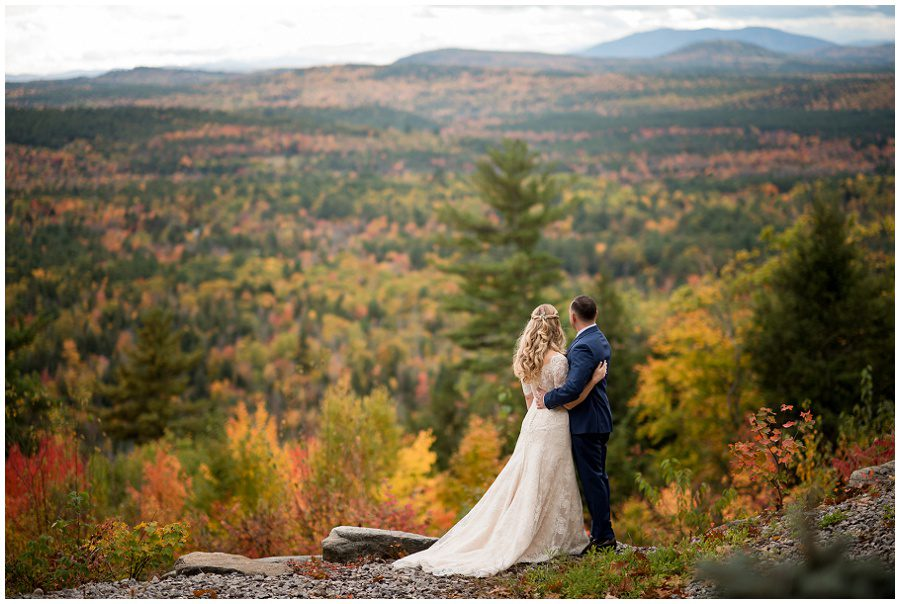 Couples portraits of the bride and groom at Granite Ridge Estate and Barn in Norway Maine