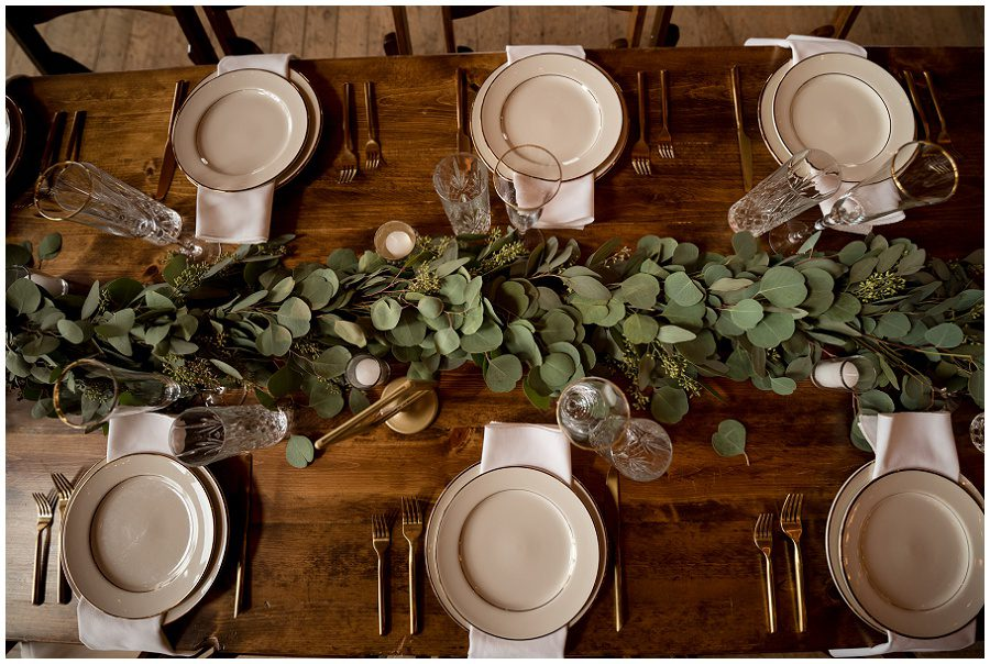 Tablescape with eucalyptus and classic stemware