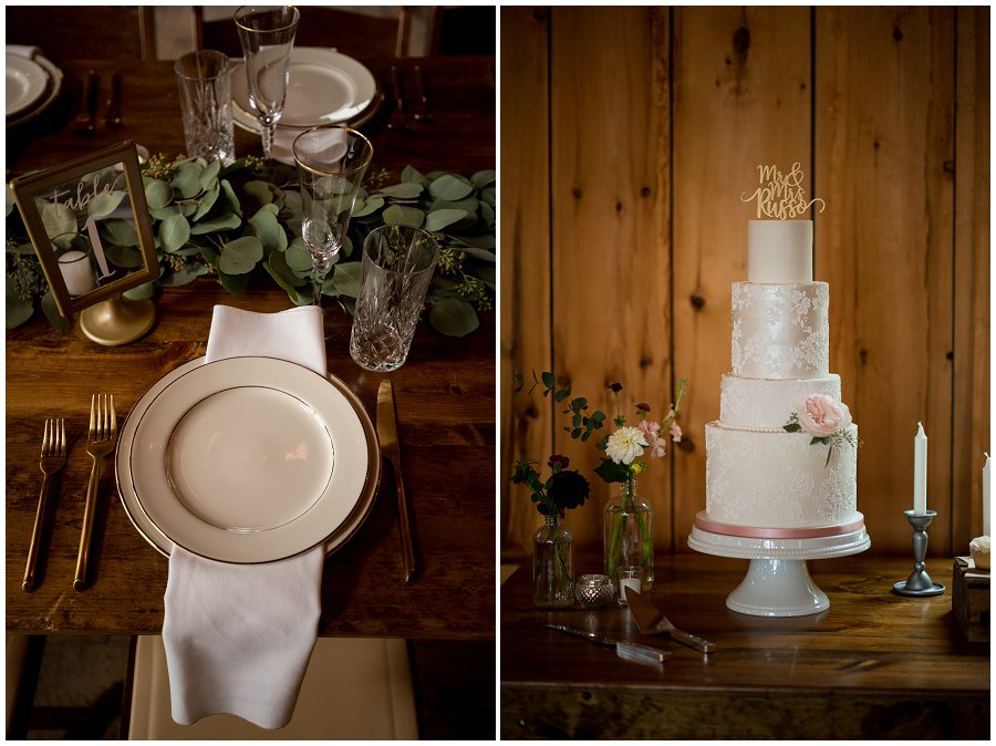 Tablescape with eucalyptus and classic stemware and beautiful wedding cake