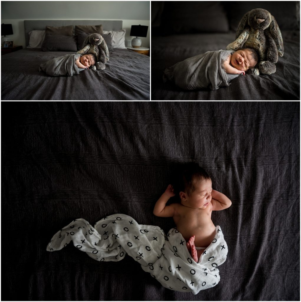Newborn posed in home during lifestyle photography session