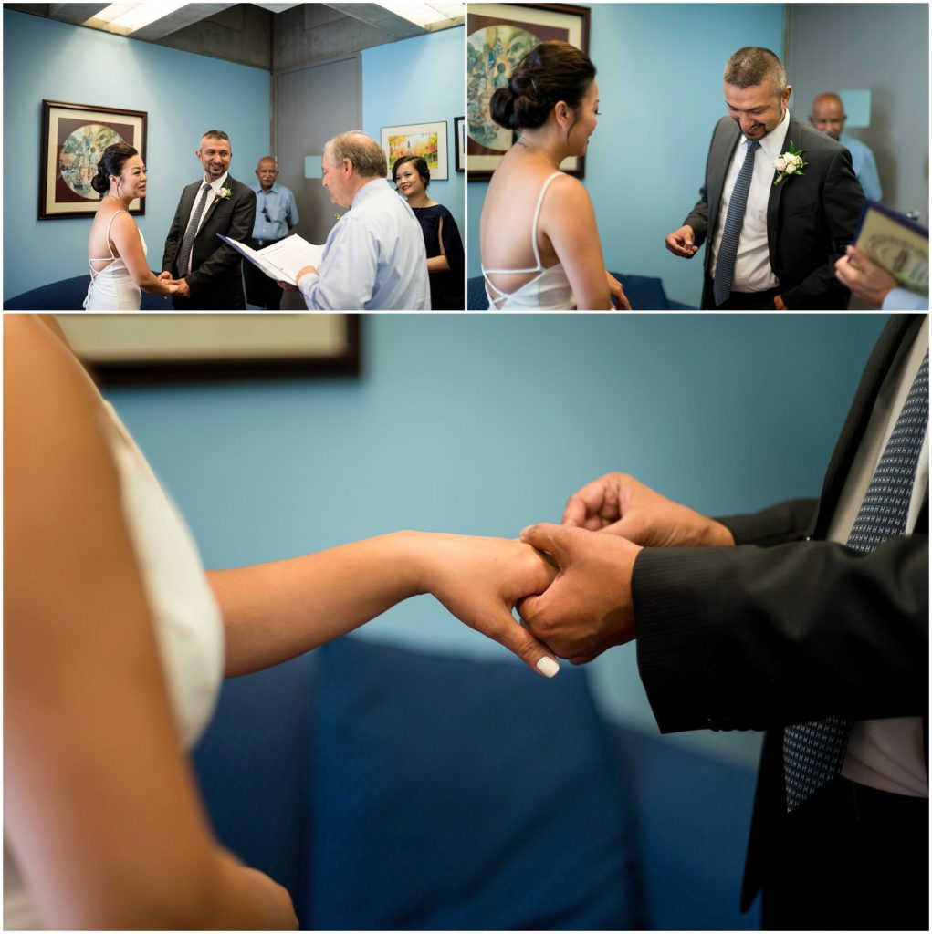 Ceremony photos inside Boston City Hall at the Clerk's office during civil wedding ceremony
