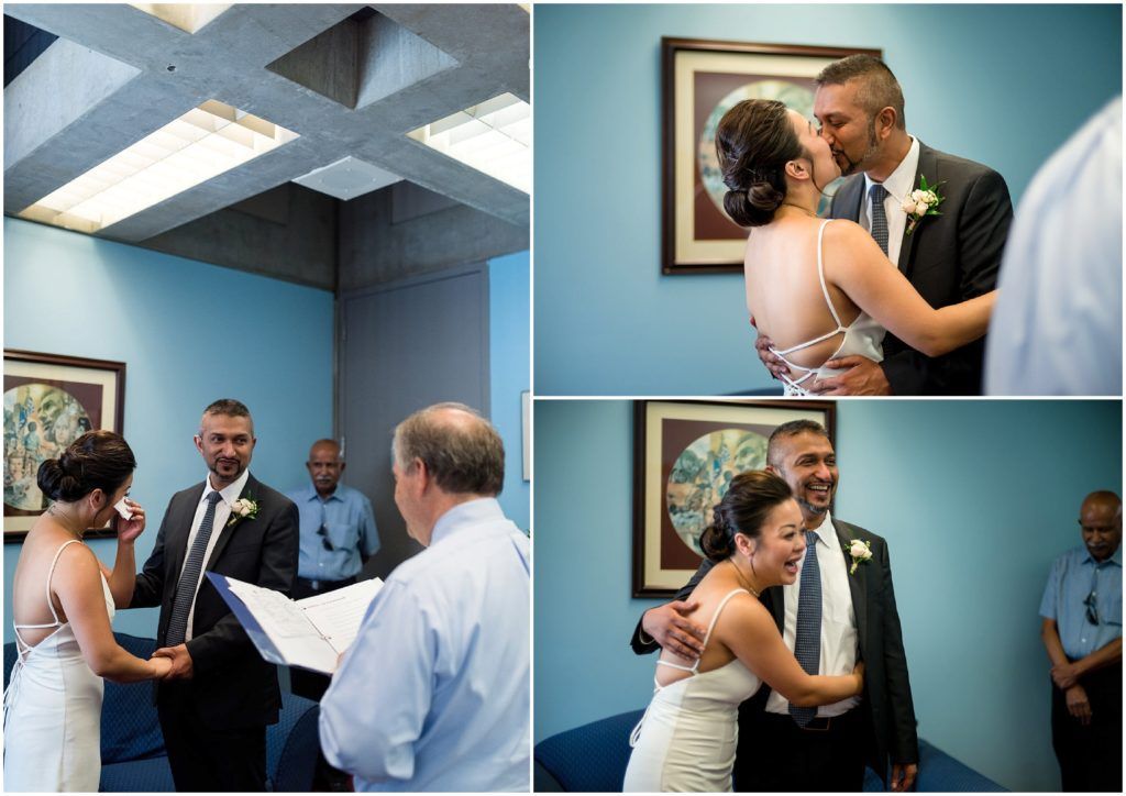 Ceremony photos inside Boston City Hall at the Clerk's office during civil marriage ceremony