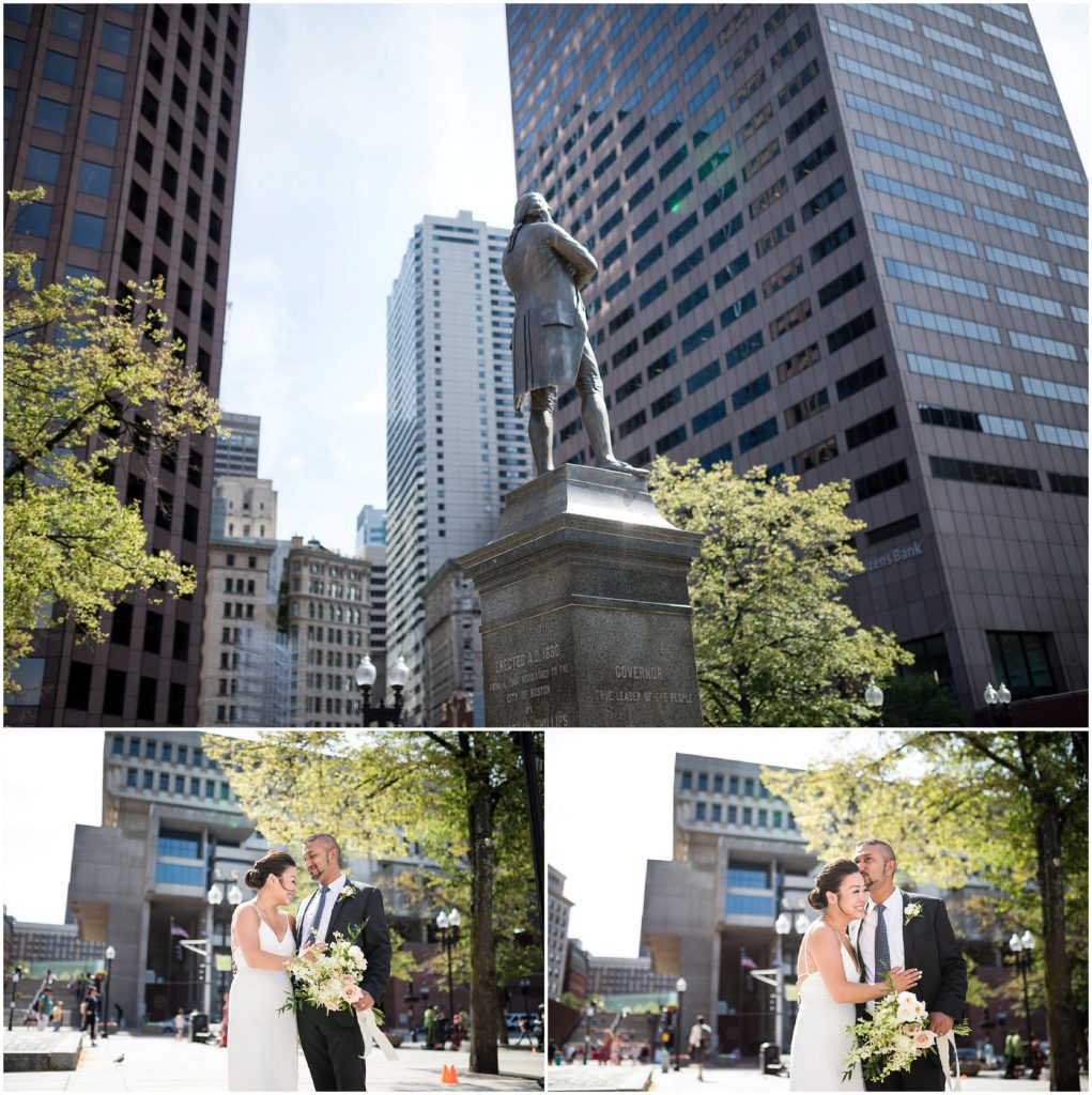 Bride and Groom after wedding civil ceremony posing outside Boston City Hall