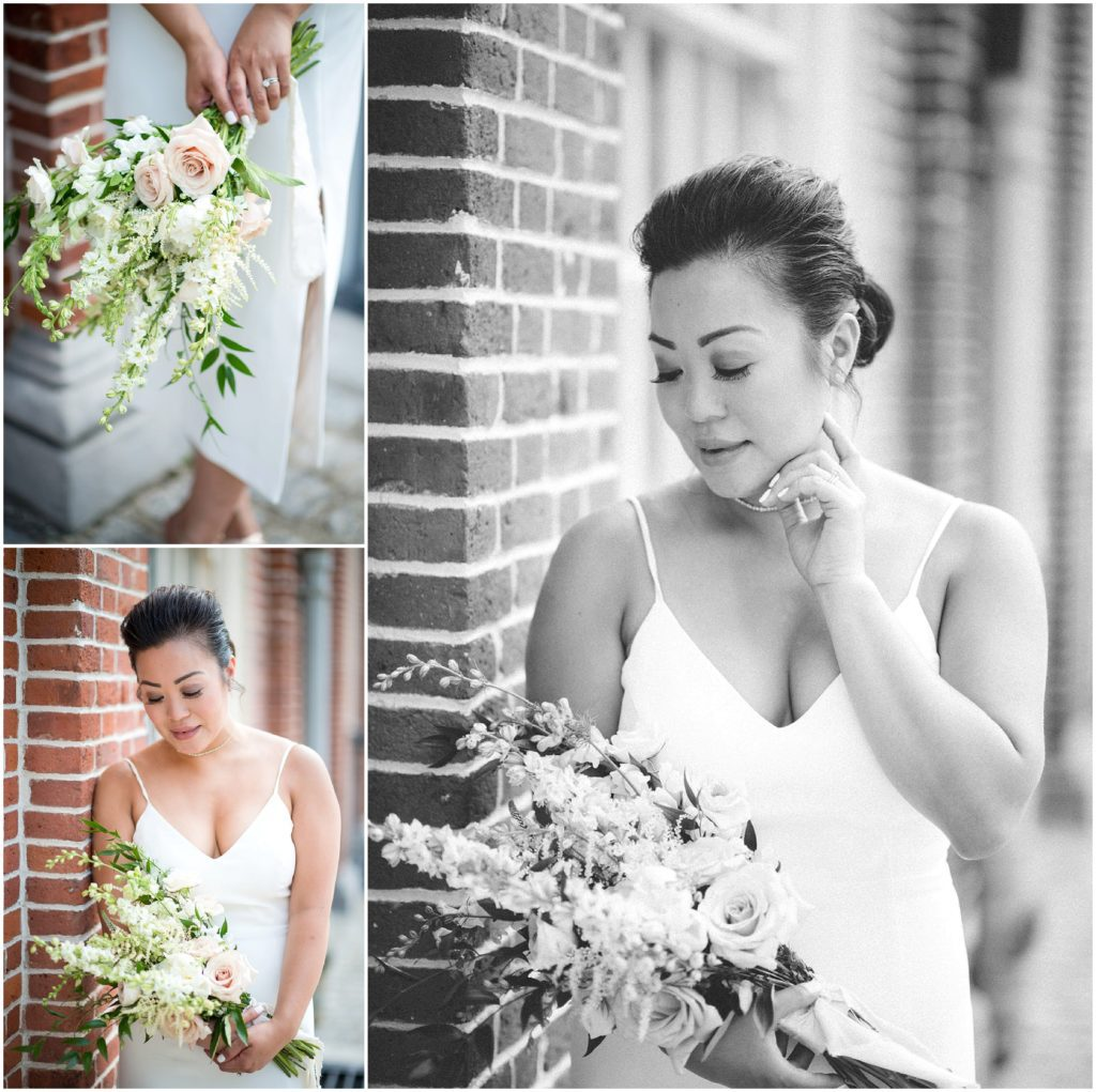 Bride with bouquet after wedding civil ceremony posing outside Boston City Hall