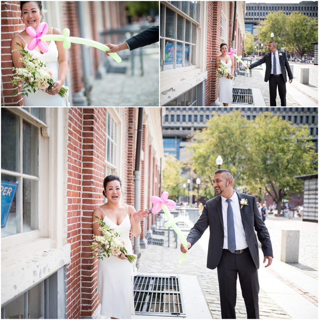 Groom tickling bride with bouquet after wedding civil ceremony