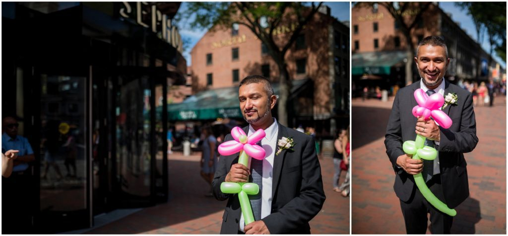 Groom with bouquet after wedding civil ceremony