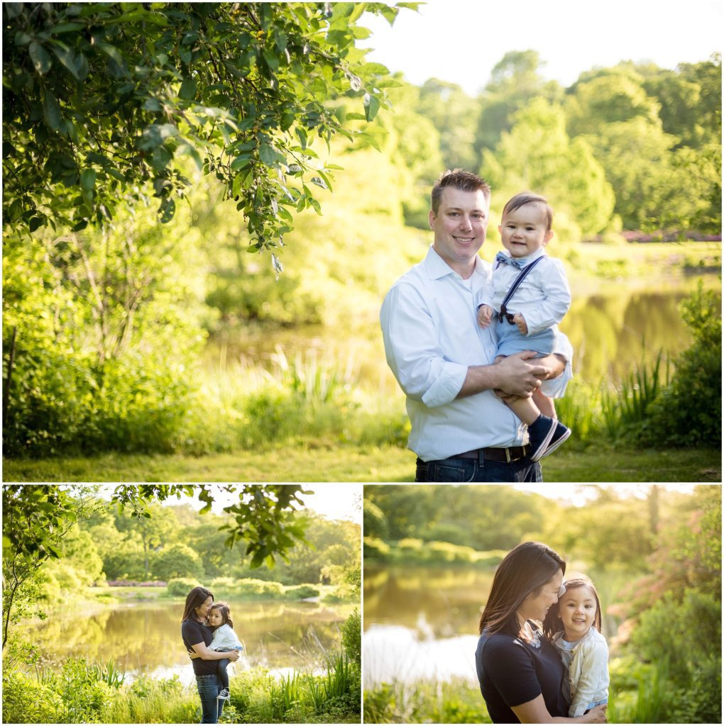 Dad holding son. Mother holding daughter Arnold Arboretum Family session