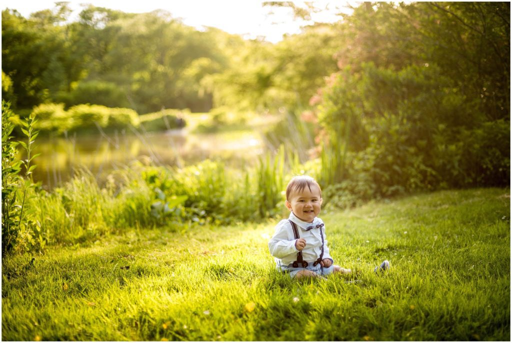 Sunset session of baby boy at Arnold Arboretum
