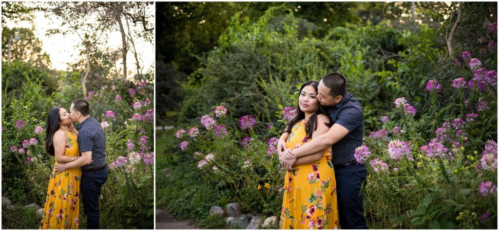 Engagement Photos at The Fens in Boston with spring blossoms