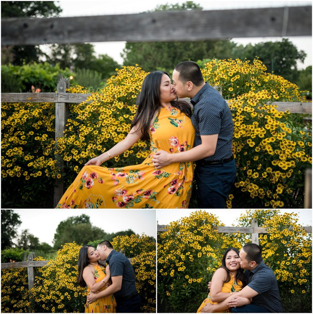 Spring blossoms in bloom during engagement session in Boston