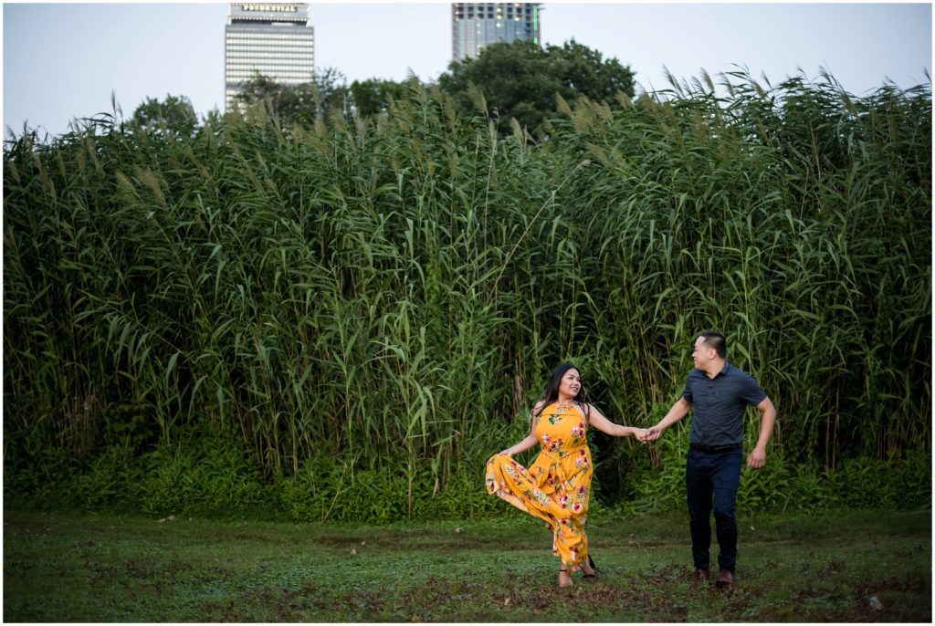 Boston skyline engagement photos in the Fens