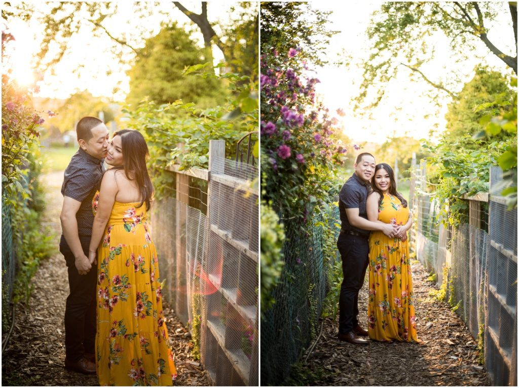 Sunset Engagement photos at the Fens in Boston