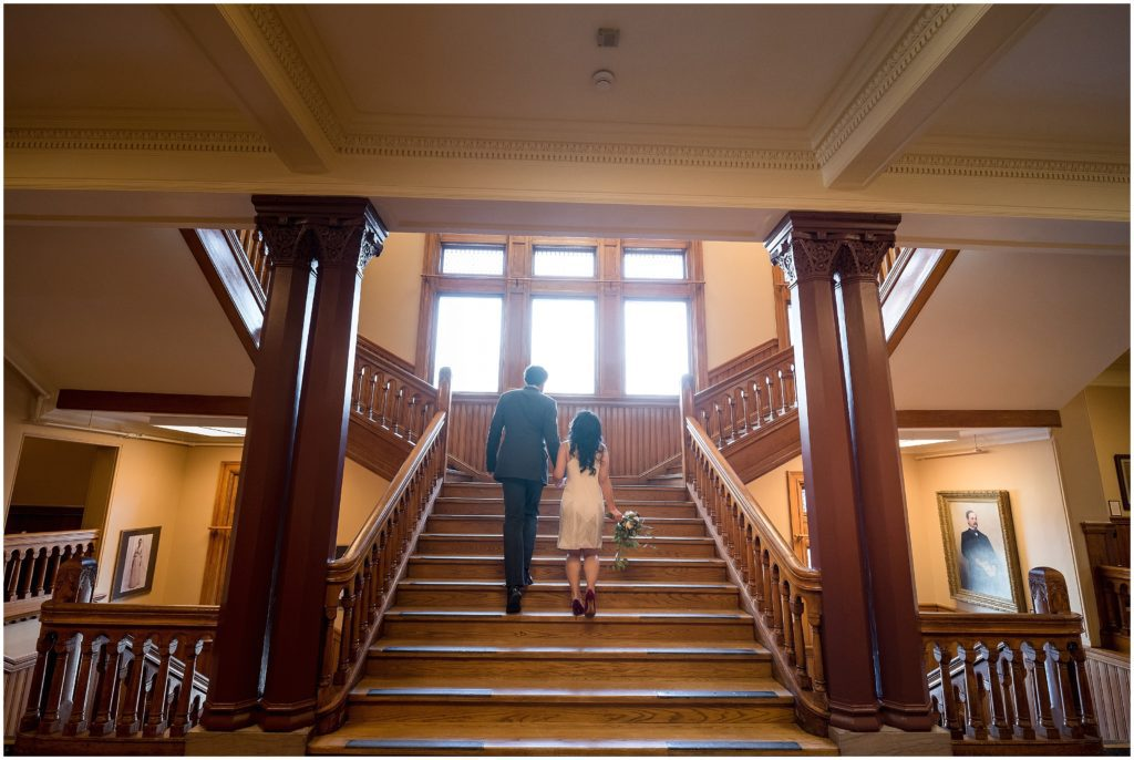 The grand staircase at Cambridge city hall