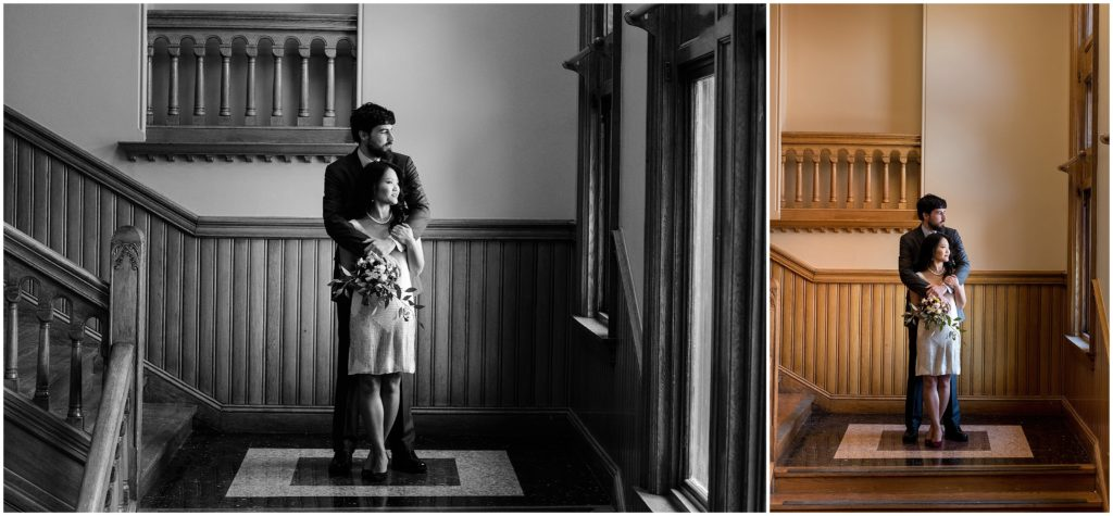 beautiful lighting in the building of city hall in Cambridge for portraits.