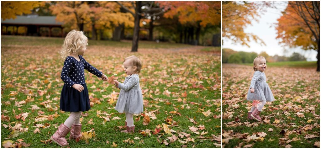 Children playing with leaves Boston family photographer Fall foliage Larz Anderson
