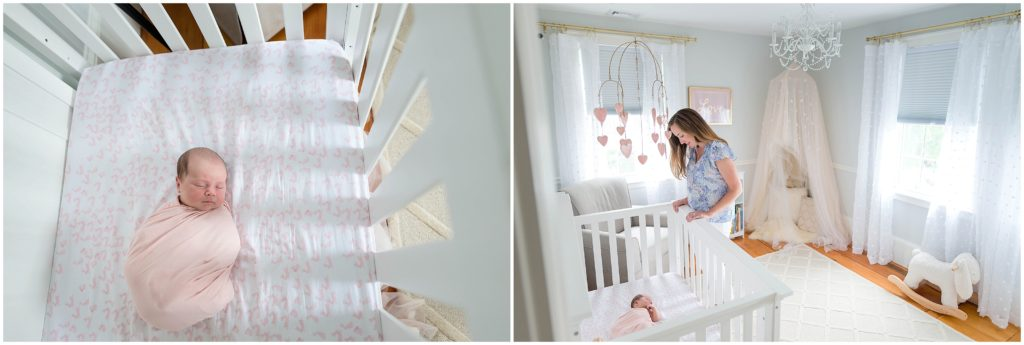 Mother and baby in nursery featuring crib
