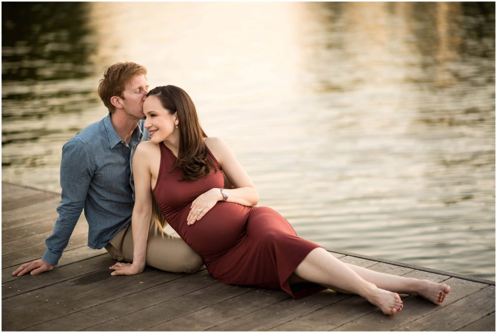 Boston Maternity session by the Charles River during sunset