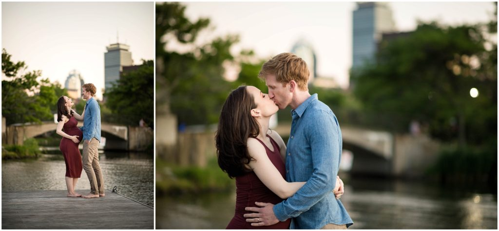 Boston Maternity session by the Charles River with prudential center in background