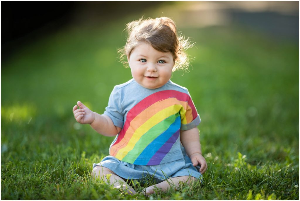 Boston Family session with baby in rainbow dress for a spring photo shoot