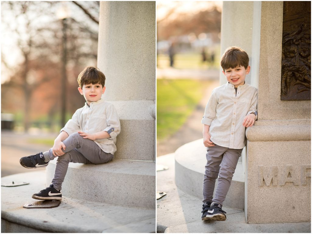 Boy in button down shirt and skinny leg jeans in Boston Commons during a spring family photography session.