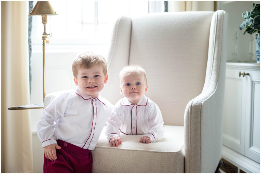 Adorable boys wearing royal family inspired outfits for what to wear for spring photo session