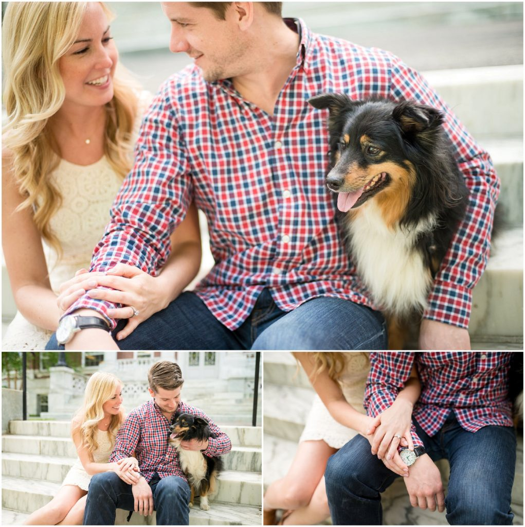 engaged couple sitting on steps of tufts campus building with dog