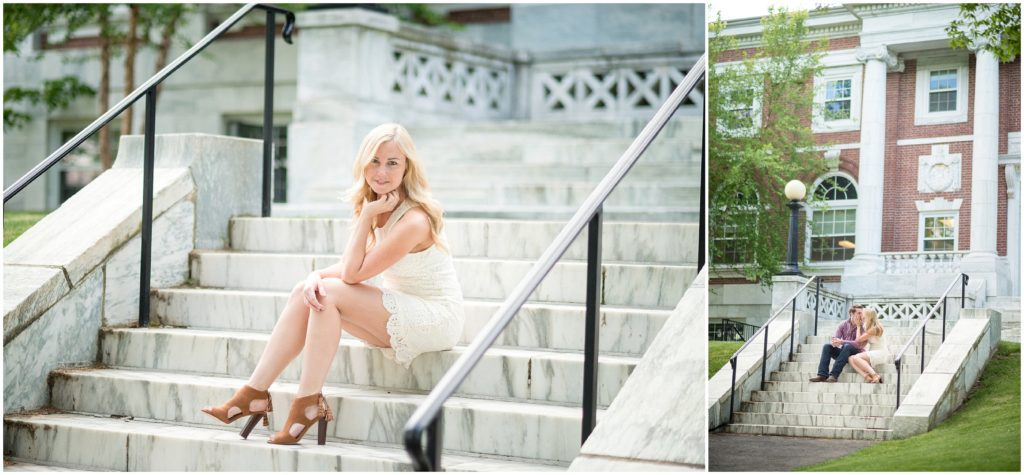 bride to be on steps of tufts campus