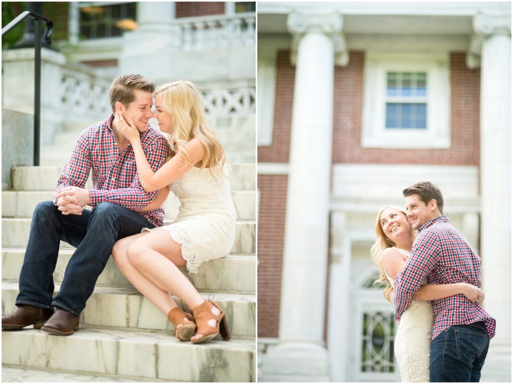 Engaged couple in Tufts Campus in Medford