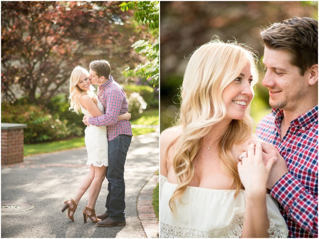 bride to be changes into new outfit for spring Boston engagement photos