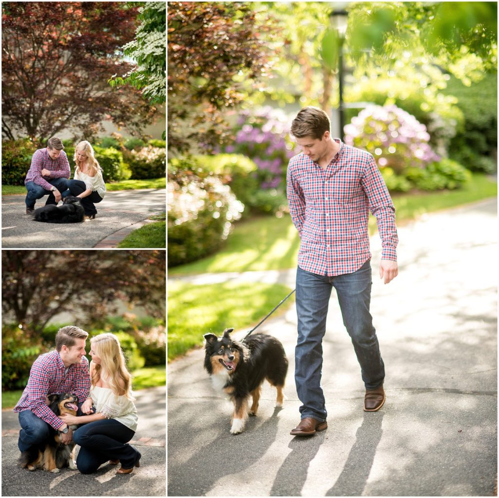 engaged couple with their pup
