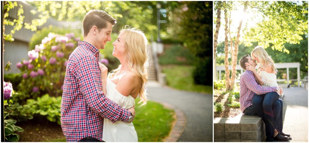 sunset photos of couple in Boston at Tufts