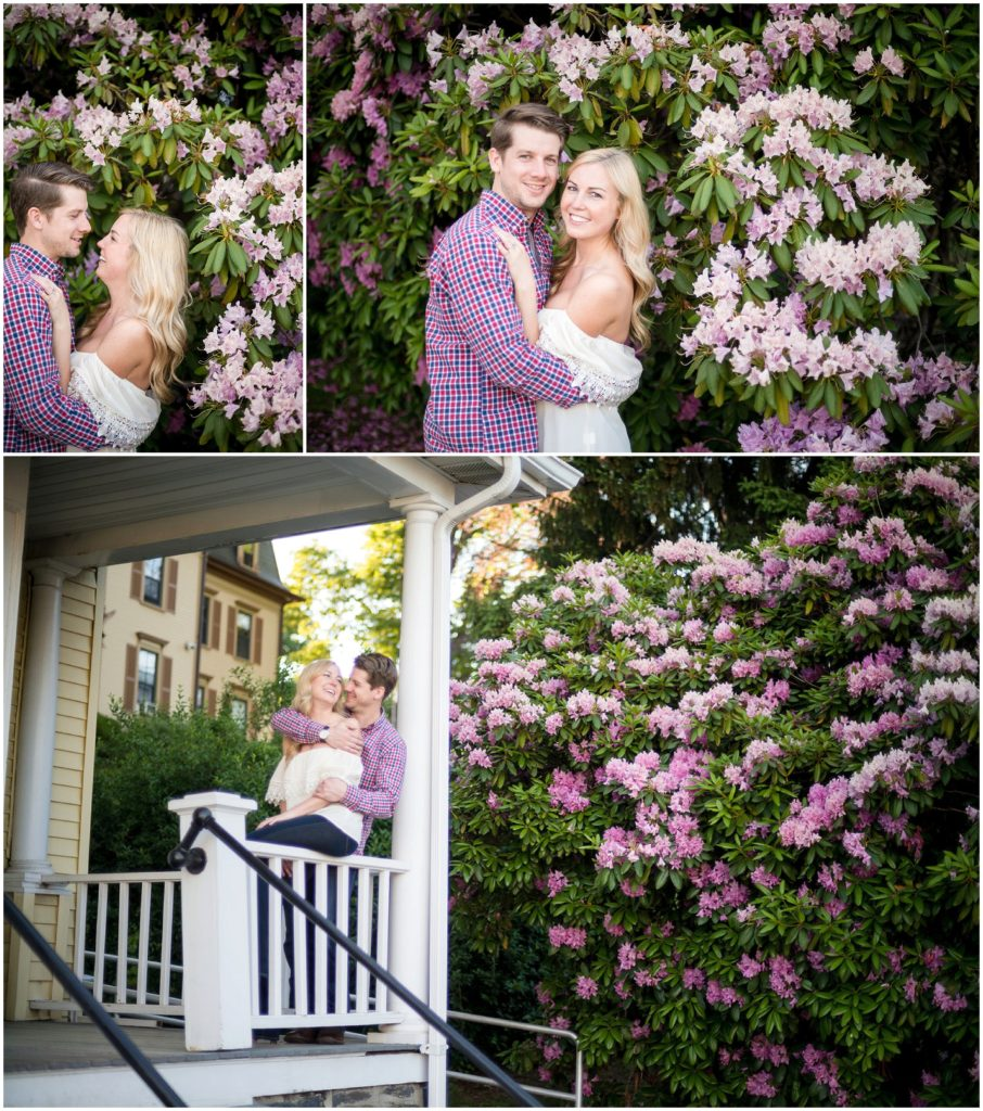 engagement session in front of purple flowers
