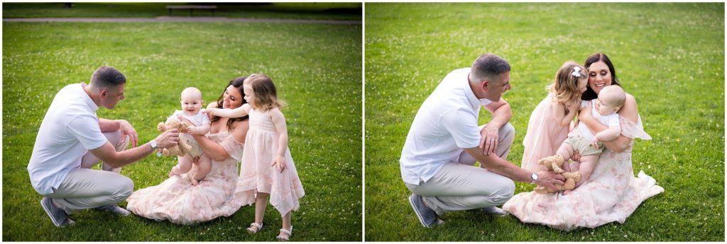 toddler, baby and parents at Boston Public Garden during family photography session