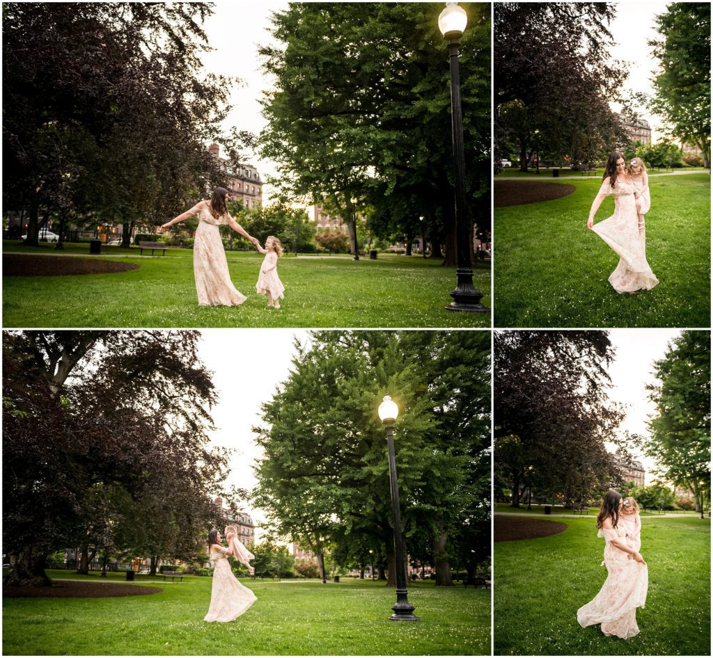 Mother and daughter dancing at Boston Public Garden