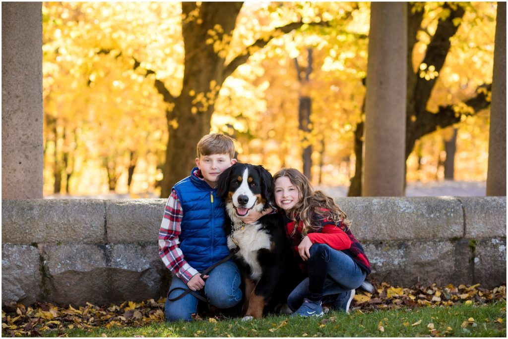 Children and family pet at Larz Anderson Brookline Park
