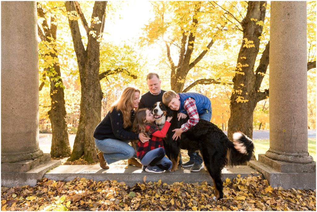 Puppy and family at Larz Anderson Park in Brookline for fall family photos