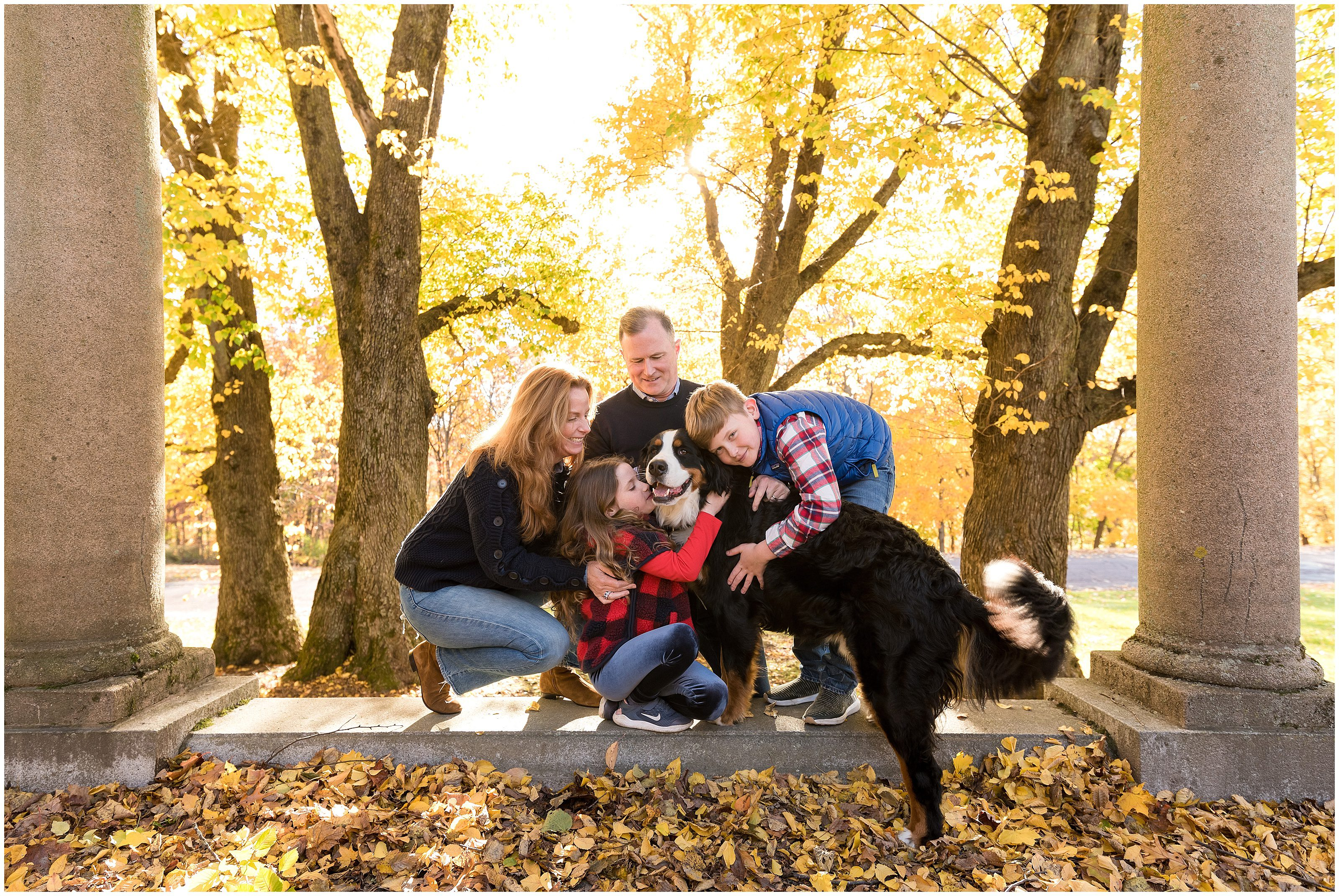 Puppy and family at Larz Anderson Park in Brookline