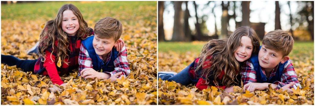 Siblings in leaves during autumn photo session