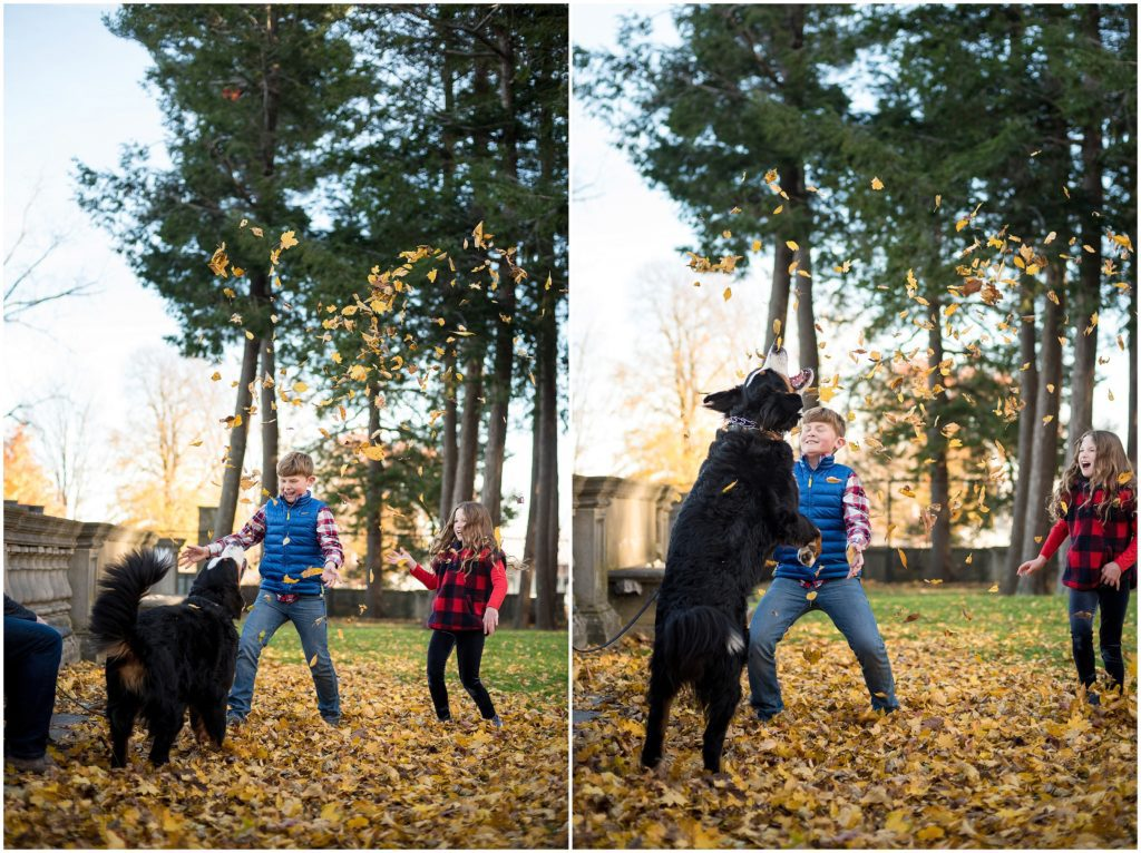 Playing with puppy in leaves during family photoshoot