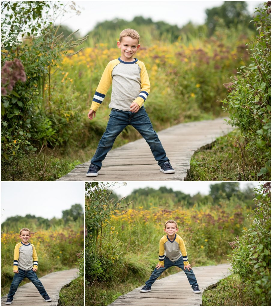 Young boy posing in Belmont family session