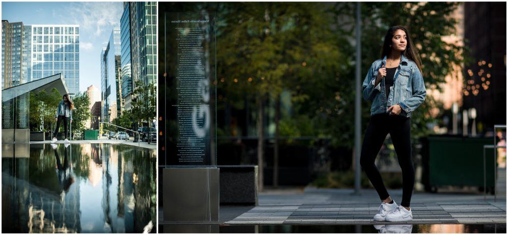 Dancer in front of skyscrapers in Boston Seaport District