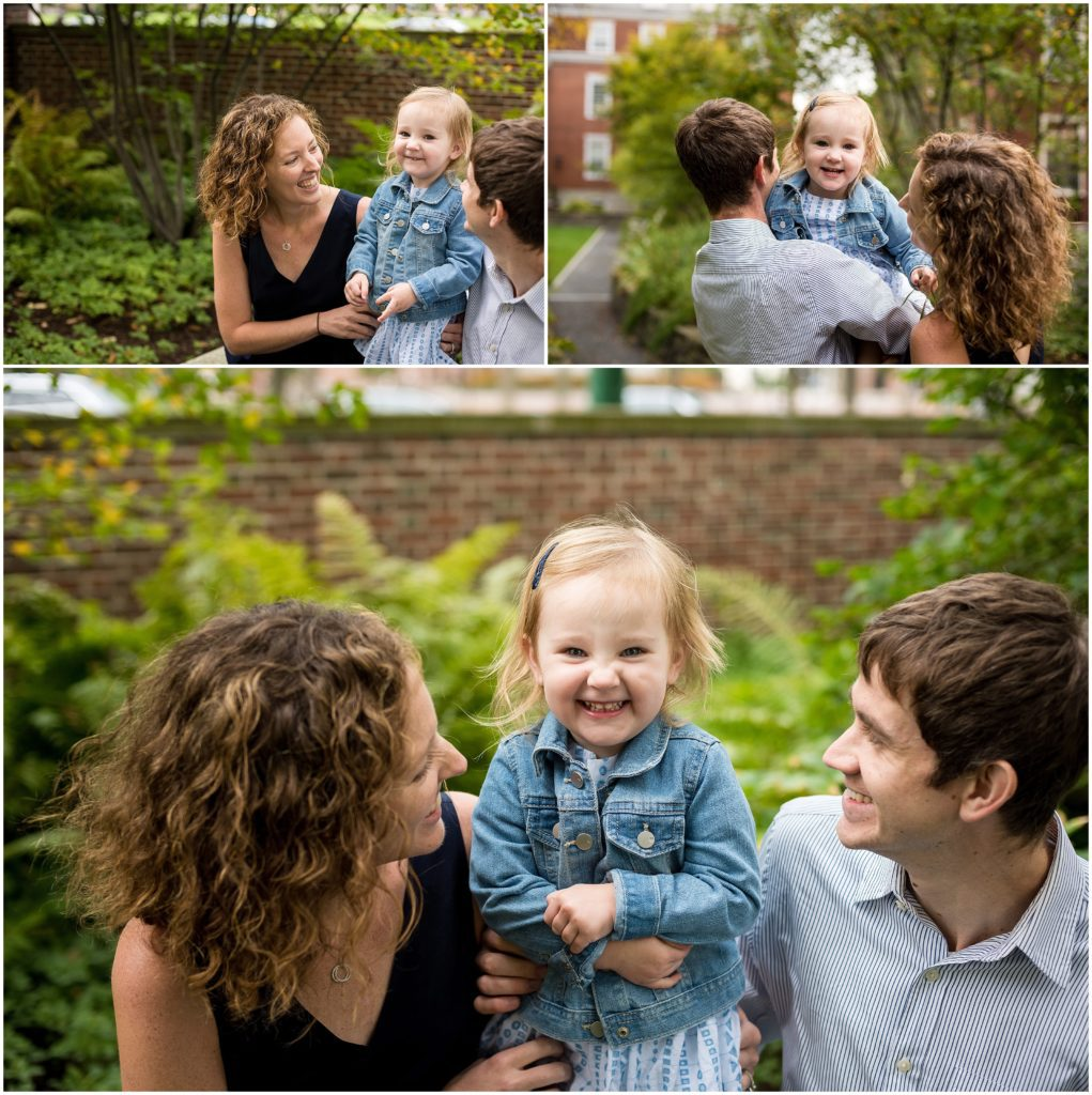harvard family photography session parents playing with child