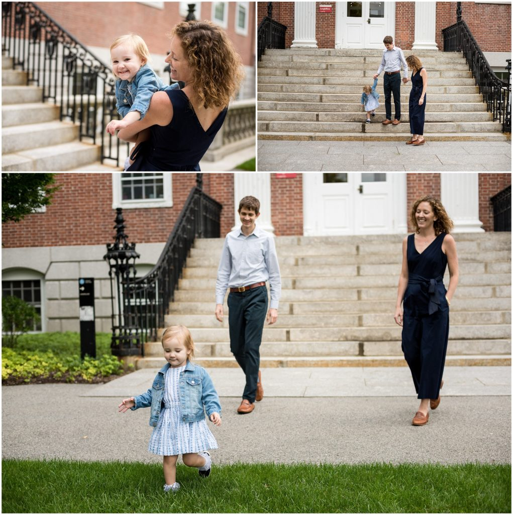 parents with child in Harvard Yard
