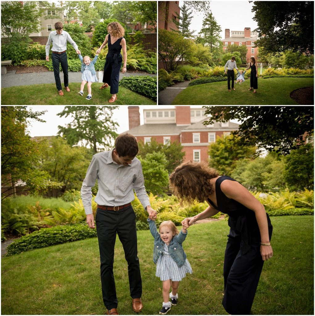 harvard family photography session parents swinging child