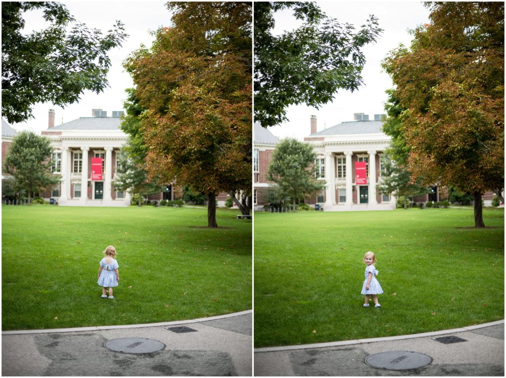 child playing  in Harvard family photography