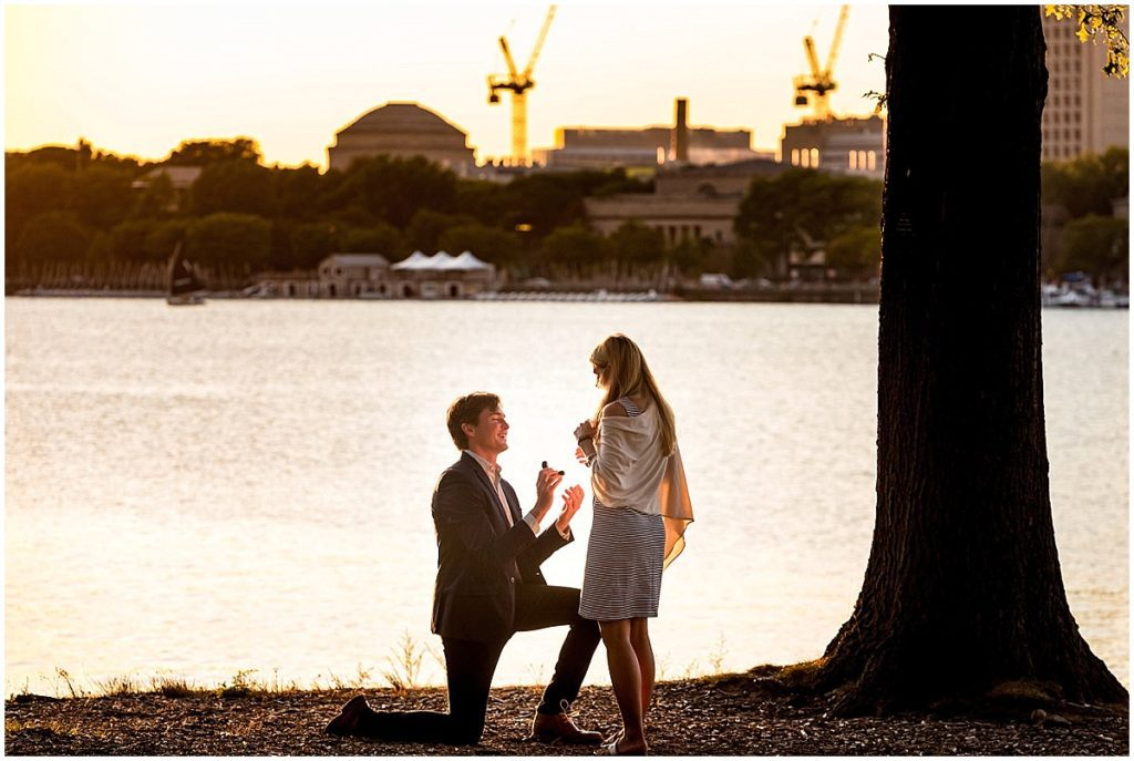 He bent down on one knee to ask for her hand in marriage