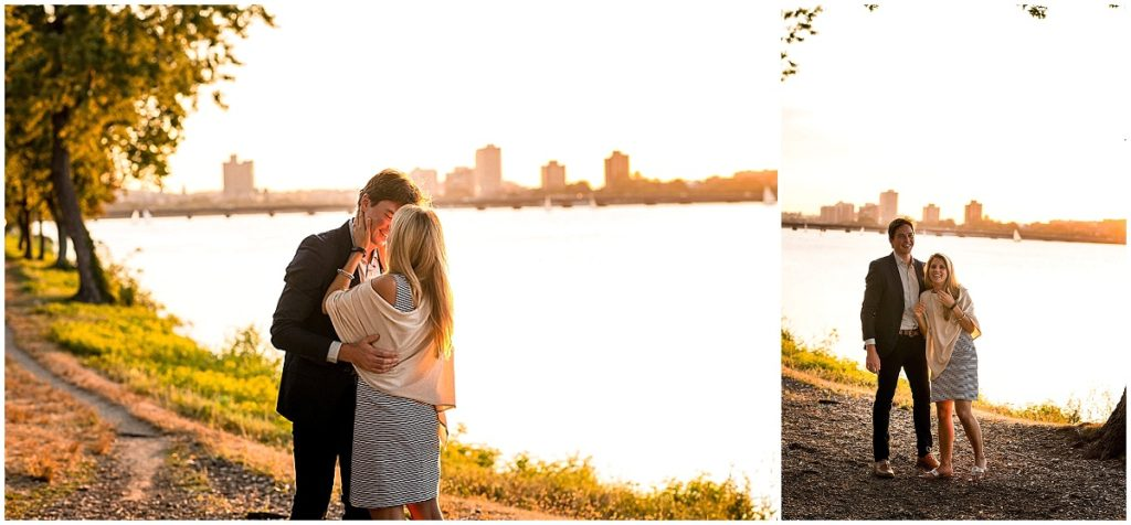 Sunset couple photo during surprise proposal in Boston